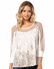 Miss Me Women's Quarter Sleeve Button Back Aztec Top - Taupe (Closeout)