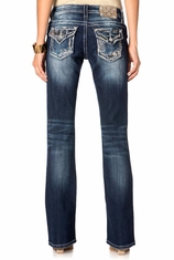 Miss Me Women's Carefree Chevron Patch Relaxed Boot Cut Jeans - MK388