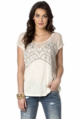 Miss Me Women's Short Sleeve Native Instincts Embroidered Top - Black (Closeout)