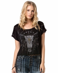 Miss Me Women's Short Sleeve Lace Fringe Top - Black