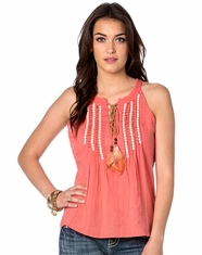 Miss Me Women's Feather Falls Sleeveless Beaded Top - Coral (Closeout)