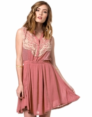 Miss Me Women's Sleeveless Lace Dress - Dusty Pink (Closeout)