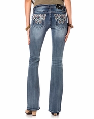 Miss Me Women's Summer Spell Tribal Mid Rise Boot Cut Jeans - MK296