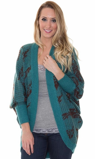 Miss Me Women's Sweater Cardigan with Feather Print - Teal (Closeout)
