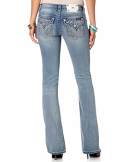 Miss Me Women's Sweet As Candy Boot Cut Jeans - Light Wash