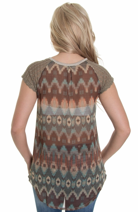 Miss Me Womens Aztec Top - Olive