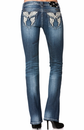 Miss Me Womens Boot Cut Phoenix Leather Wing Boot Cut Jeans - MK 239 (Closeout)