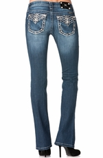 Miss Me Womens Boot Cut Sequin Border Floral Embroidered Jeans - MK 243 (Closeout)