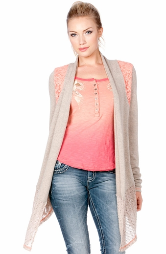 Miss Me Womens Ruched Back Open Cardigan With Lace Detail (Closeout)