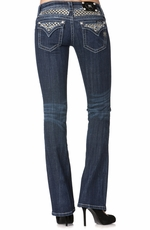 Miss Me Womens Checkerboard Flap Boot Cut Jeans - DK225
