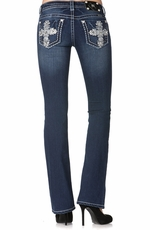 Miss Me Womens Cross Mid-Rise Boot Cut Jeans - DK223 (Closeout)