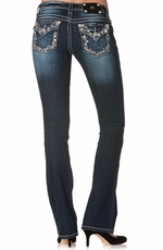 Miss Me Womens Crystal Fantasy Boot Cut Jeans - MK221 (Closeout)