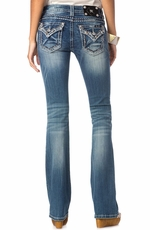 Miss Me Womens Crystal Flap Pocket Bootcut Jeans - Med 195
