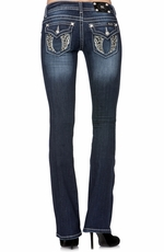 Miss Me Womens Diamond Angel Wing Boot Cut Jeans - DK220