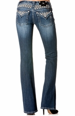 Miss Me Womens Diamond Pattern Insert Boot Cut Jeans - MK 175