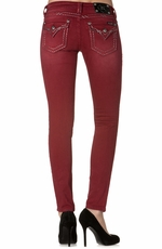 Miss Me Womens Embellished Flap Skinny Jeans - Cabernet (Closeout)