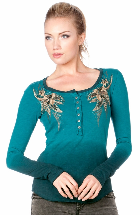 Miss Me Womens Embellished Henley - Teal (Closeout)