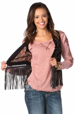 Miss Me Womens Embroidered Fringe Vest - Black (Closeout)