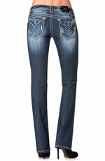 Miss Me Womens Flap Straight Cut Sequin Jeans - MK236 (Closeout)