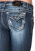 Miss Me Womens Flap Straight Cut Sequin Jeans - MK236