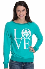 Miss Me Womens Fleur Logo Sweater - Turquoise (Closeout)