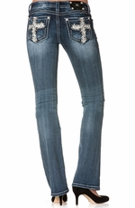 Miss Me Womens Floral Cross Boot Cut Jeans - MED146