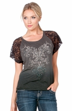 Miss Me Womens Floral Stone Top - Grey (Closeout)