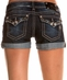 Miss Me Womens Frayed Crystal Trim Shorts - DK 180