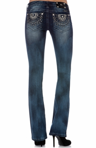 Miss Me Womens French Ferris Wheel Boot Cut Jeans - MK 231 (Closeout)