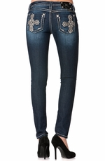 Miss Me Womens Gold Studded Cross Skinny Jeans - DK 238 (Closeout)