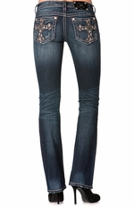 Miss Me Womens Gothic Glass Cross Boot Cut Jeans - DK 233