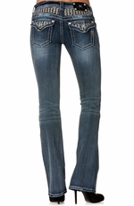 Miss Me Womens Houndstooth Boot Cut Jeans - MED152