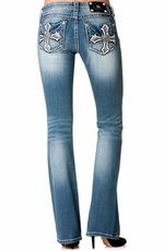 Miss Me Womens Jagged Cross Boot Cut Jeans - MK 185