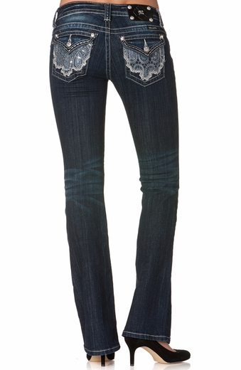 Miss Me Womens Western Lace Boot Cut Jeans - DK 205