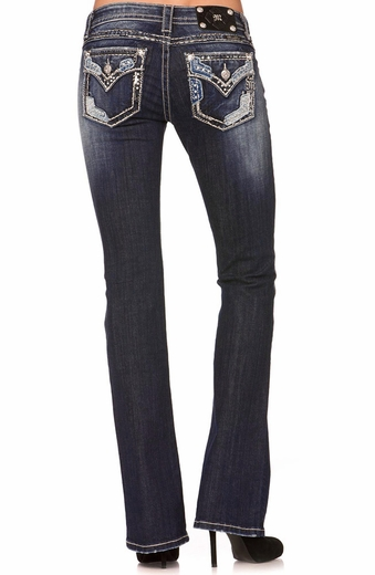 Miss Me Womens Frayed Patch Bootcut Jeans - MK 271