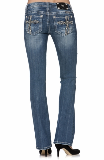 Miss Me Womens Geometrical Cross Bootcut Jeans - Medium 198 (Closeout)