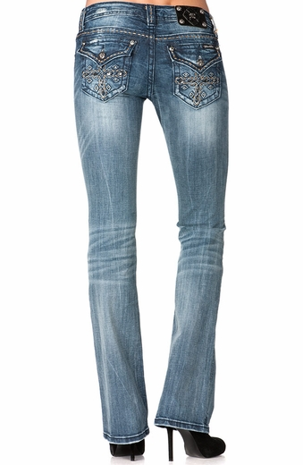 Miss Me Womens Cross Flap Boot Cut Jeans - MED167 (Closeout)
