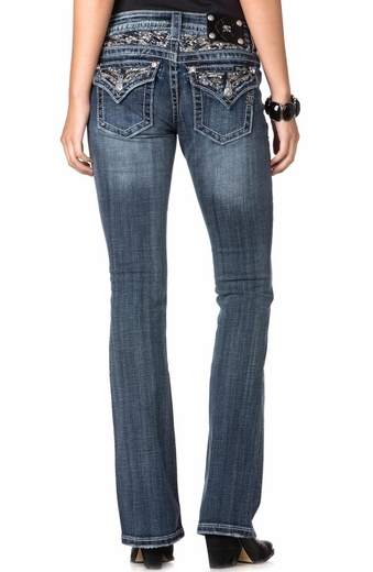 Miss Me Womens Relaxed Bootcut Jeans - MK308