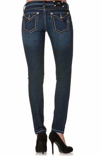 Miss Me Womens Skinny Three Tone Saddle Stitch Jeans - DK-210