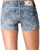 Miss Me Womens Lace Print Shorts - Indigo