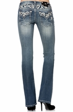 Miss Me Womens Water Drop Insert Bootcut Jeans - MK267