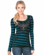 Miss Me Womens Long Sleeve Cross Striped Shirt - Teal or Purple (Closeout)