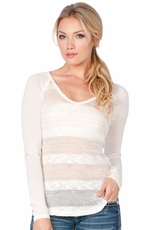 Miss Me Womens Long Sleeve Striped Top - Cream (Closeout)