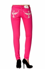 Miss Me Womens Low Rise Leather Wing Cross Colored Skinny Jeans - Bright Pink