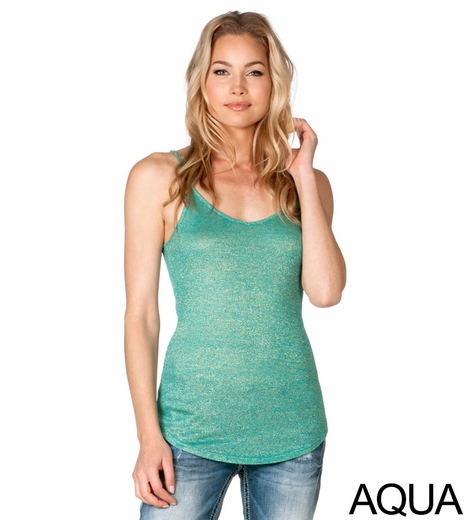 Miss Me Womens Metallic Cami Top - Aqua, Grey, Silver, Teal or Beige (Closeout)