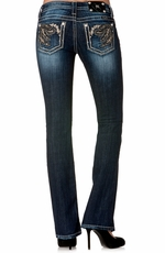 Miss Me Womens Paisley Boot Cut Jeans - MK216 (Closeout)