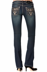 Miss Me Womens Paris Cutout Border Boot Cut Jeans - DK 239