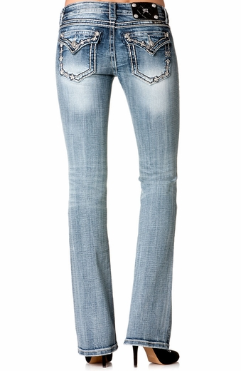 Miss Me Womens Petite Fleur De Lis Border Boot Cut Jeans - MED 118