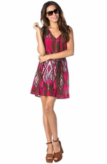 Miss Me Womens Printed Dress With Rope Belt - Fuchsia (Closeout)