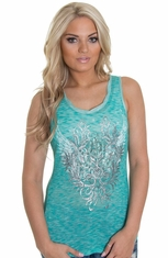 Miss Me Womens Racer Back Tank - Aqua